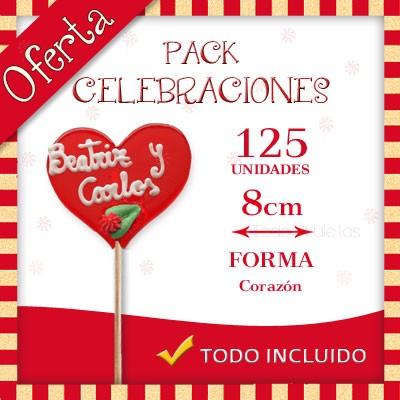 Pack Celebraciones - Piruletas Transparente Artesanal Redonda o Corazón