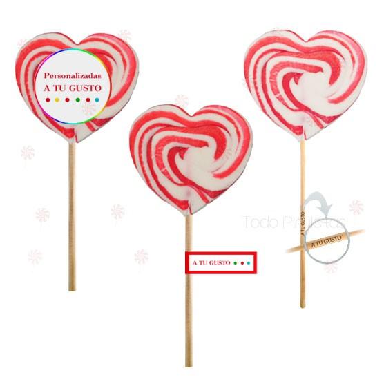 Piruletas Multicolor Corazón Personalizadas
