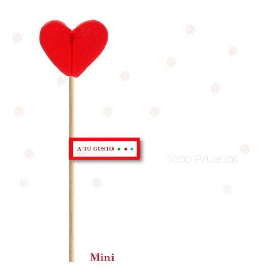 Piruletas Corazón Transparentes Mini Personalizadas