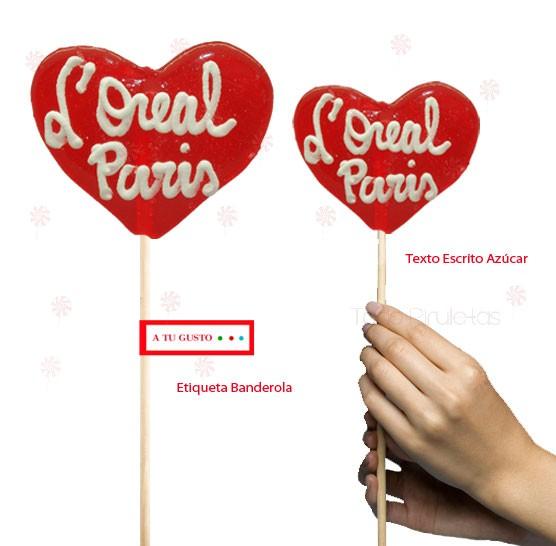 Piruletas Corazón Transparentes Personalizadas Gigantes