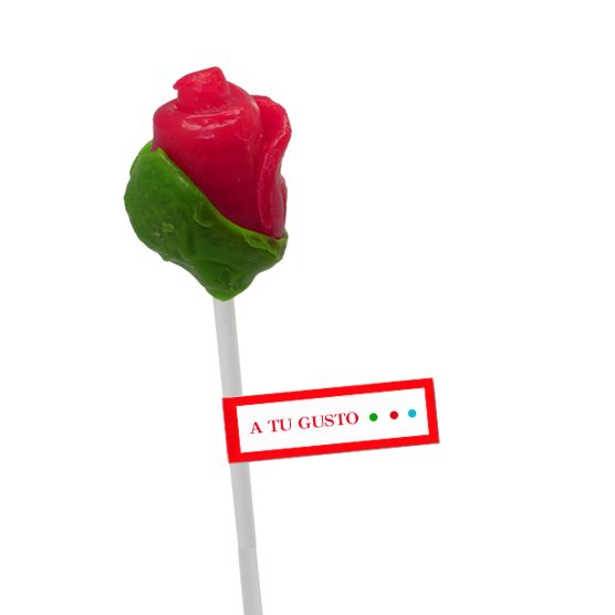 Piruletas Rosa Roja Artesanal Personalizadas