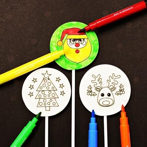 Piruletas Pintaletas Con Siluetas Navidad para Pintar