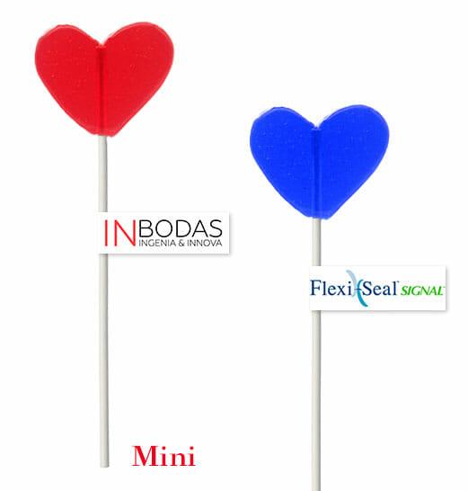 Piruletas Personalizadas Corazón Transparentes Mini 15 gr