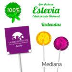 Piruletas Sin Azucar Personalizadas Redondas Medianas con Estevia